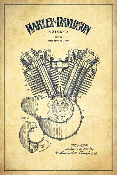 Harley Davidson Vintage Patent Blueprint Art Print By Aged