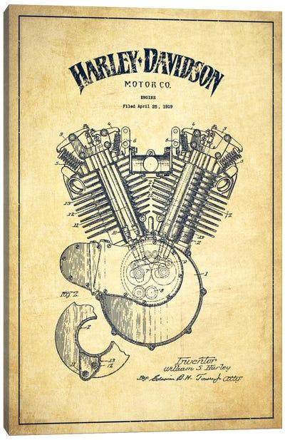 Harley-Davidson Vintage Patent Blueprint Canvas Print #ADP2464