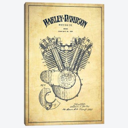 Harley-Davidson Vintage Patent Blueprint Canvas Print #ADP2464} by Aged Pixel Art Print