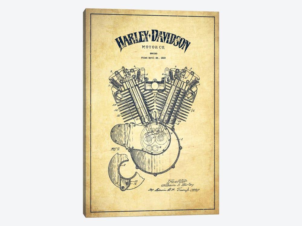 Harley-Davidson Vintage Patent Blueprint by Aged Pixel 1-piece Canvas Art Print