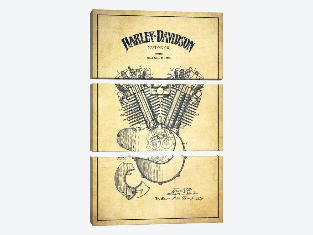 Harley-Davidson Vintage Patent Blueprint by Aged Pixel 3-piece Canvas Print