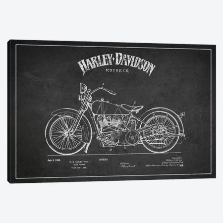 Harley-Davidson Charcoal Patent Blueprint Canvas Print #ADP2465} by Aged Pixel Canvas Art Print