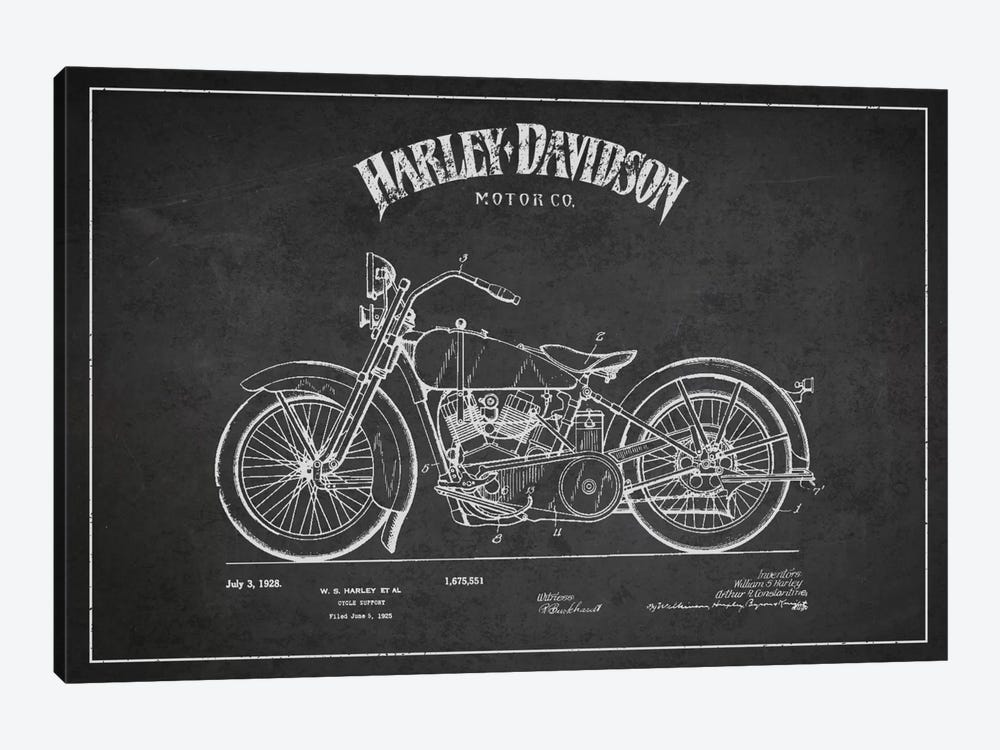 Harley-Davidson Charcoal Patent Blueprint by Aged Pixel 1-piece Canvas Art