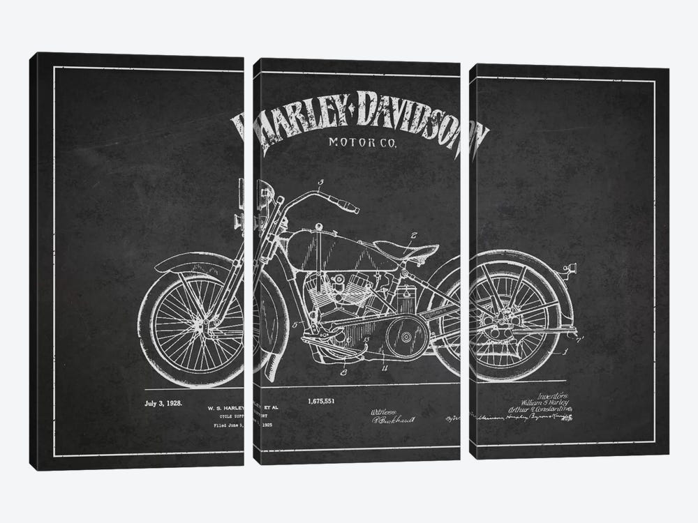 Harley-Davidson Charcoal Patent Blueprint by Aged Pixel 3-piece Canvas Art