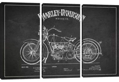 Harley-Davidson Charcoal Patent Blueprint Canvas Art Print