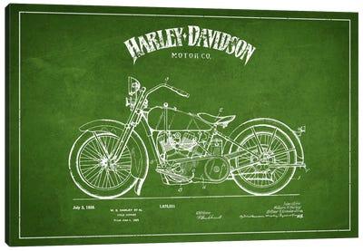 Harley-Davidson Green Patent Blueprint Canvas Print #ADP2466