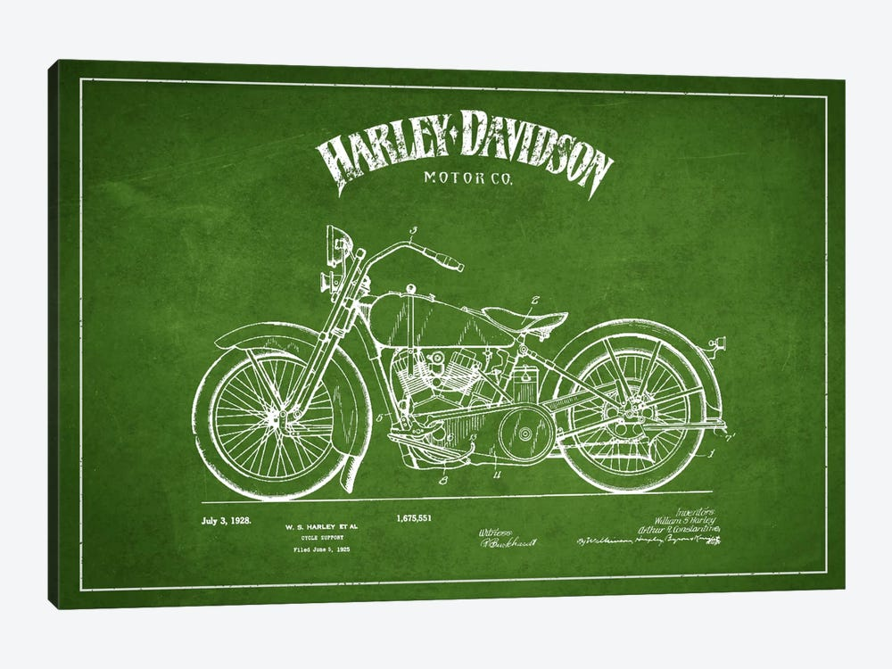 Harley-Davidson Green Patent Blueprint by Aged Pixel 1-piece Canvas Art Print