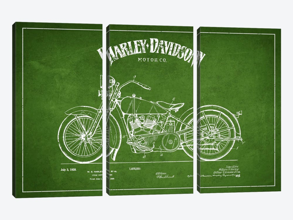Harley-Davidson Green Patent Blueprint by Aged Pixel 3-piece Canvas Print