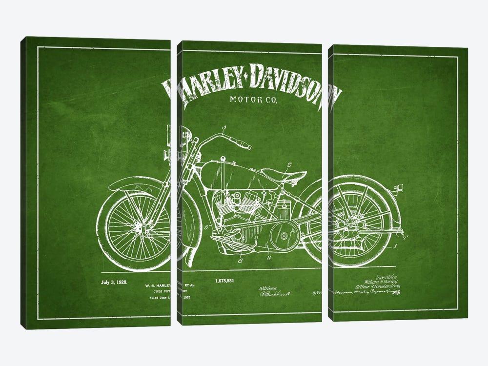Harley-Davidson Green Patent Blueprint by Aged Pixel 3-piece Canvas Print