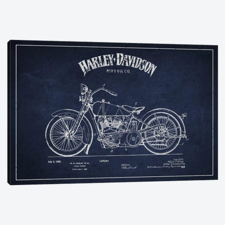 Harley-Davidson Navy Blue Patent Blueprint Canvas Print #ADP2467} by Aged Pixel Canvas Print