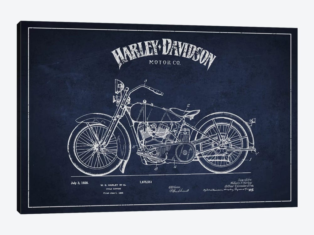 Harley-Davidson Navy Blue Patent Blueprint by Aged Pixel 1-piece Canvas Art