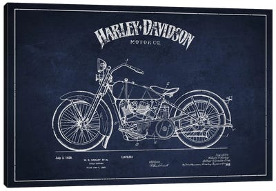Harley-Davidson Navy Blue Patent Blueprint Canvas Art Print