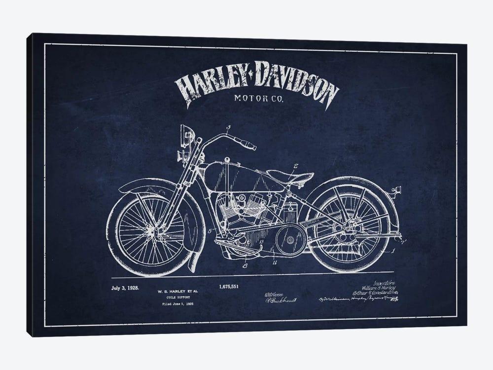 Harley-Davidson Navy Blue Patent Blueprint by Aged Pixel 1-piece Canvas Art