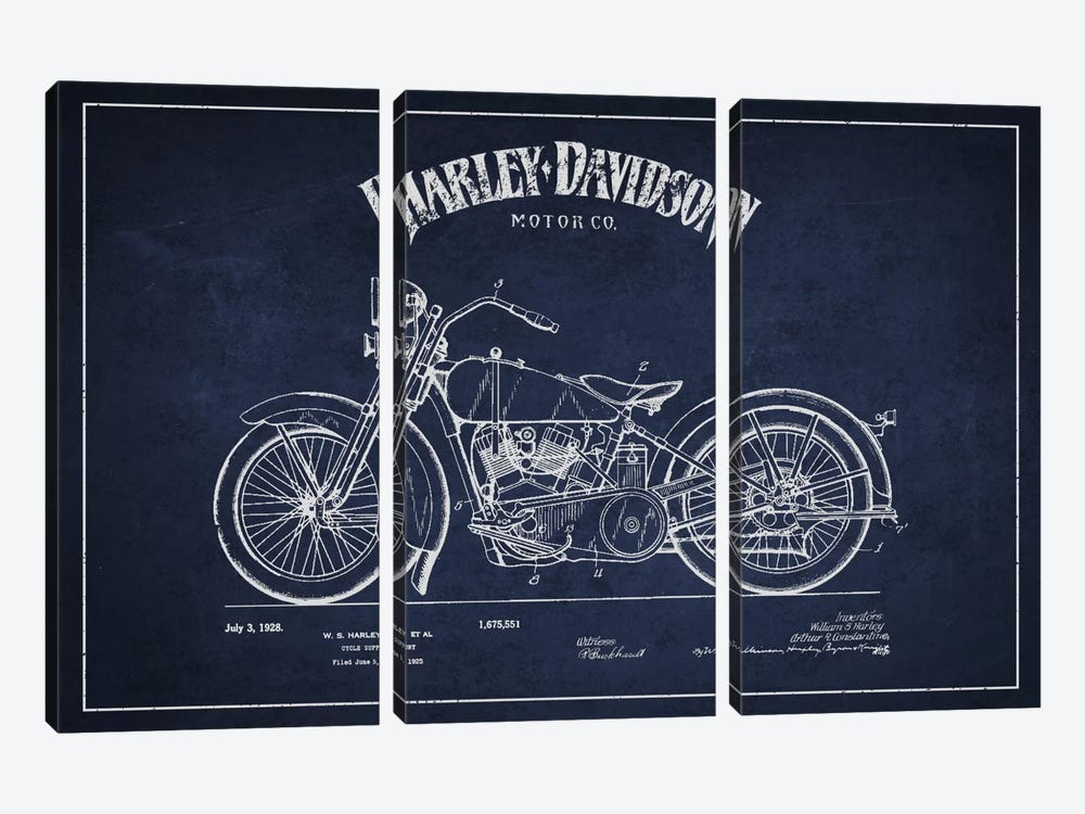 Harley-Davidson Navy Blue Patent Blueprint by Aged Pixel 3-piece Canvas Art