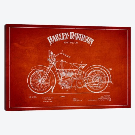 Harley-Davidson Red Patent Blueprint Canvas Print #ADP2468} by Aged Pixel Canvas Art
