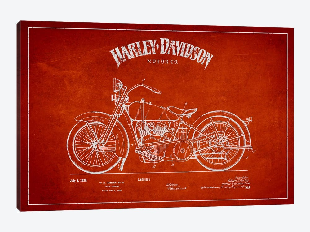 Harley-Davidson Red Patent Blueprint by Aged Pixel 1-piece Canvas Print