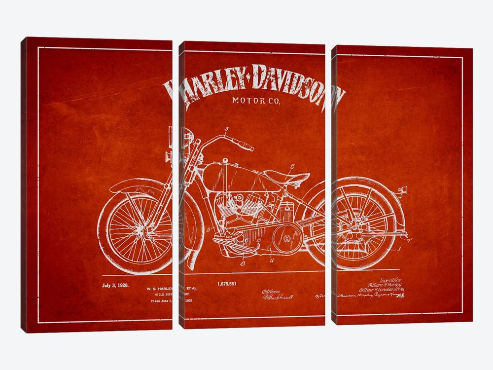 Harley-Davidson Red Patent Blueprint by Aged Pixel 3-piece Canvas Art Print