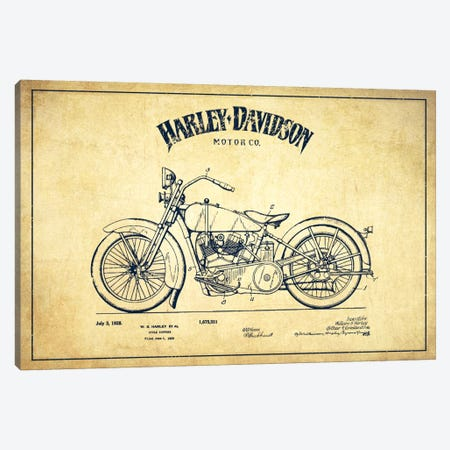 Harley-Davidson Vintage Patent Blueprint Canvas Print #ADP2469} by Aged Pixel Canvas Art