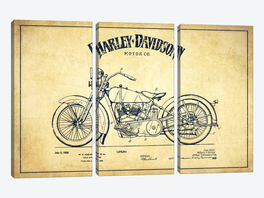 Harley-Davidson Vintage Patent Blueprint by Aged Pixel 3-piece Canvas Artwork