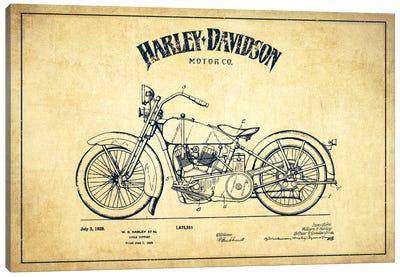 Harley-Davidson Vintage Patent Blueprint Canvas Art Print