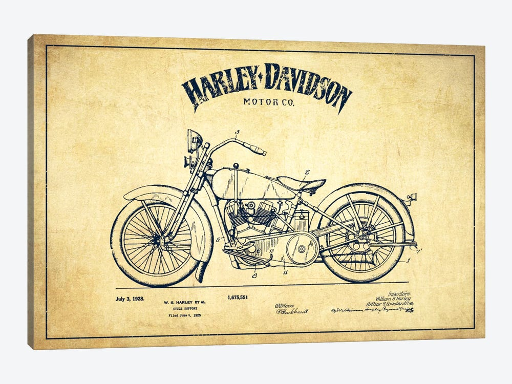 Harley-Davidson Vintage Patent Blueprint by Aged Pixel 1-piece Canvas Wall Art