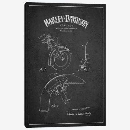 Harley-Davidson Motorcycle Fender Patent Application Blueprint (Charcoal) Canvas Print #ADP2470} by Aged Pixel Canvas Print