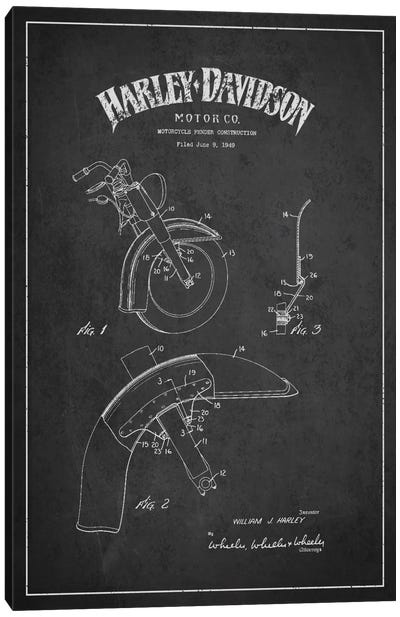 Harley-Davidson Motorcycle Fender Patent Application Blueprint (Charcoal) Canvas Art Print