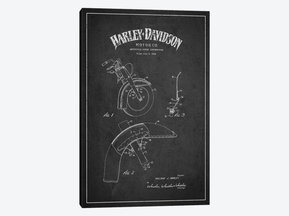 Harley-Davidson Motorcycle Fender Patent Application Blueprint (Charcoal) by Aged Pixel 1-piece Canvas Art