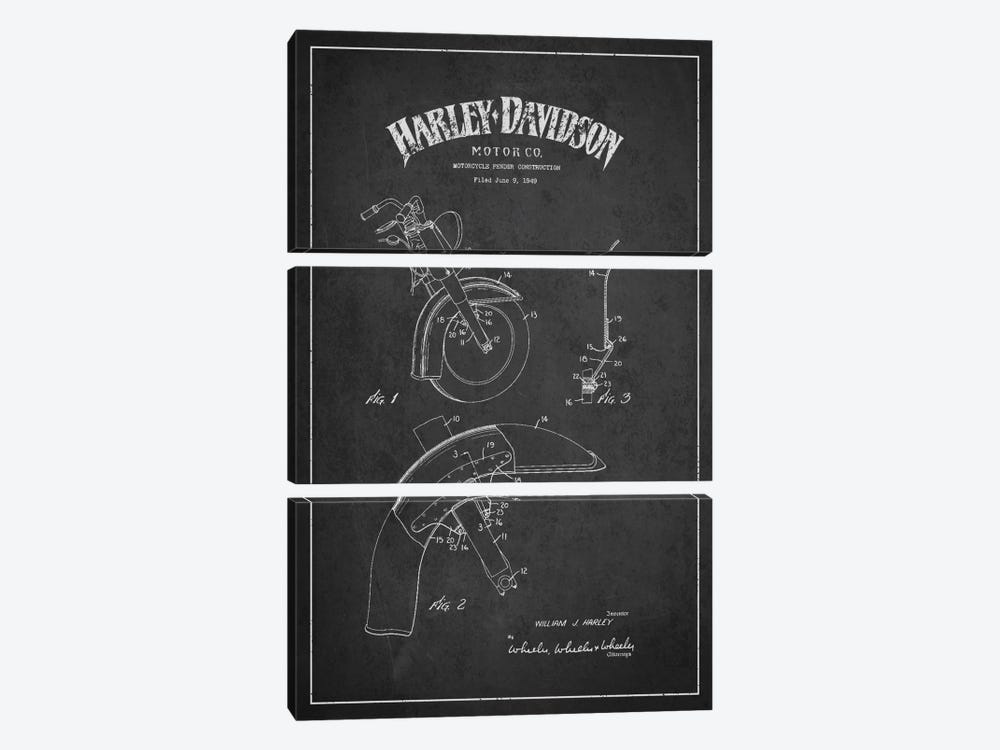 Harley-Davidson Motorcycle Fender Patent Application Blueprint (Charcoal) by Aged Pixel 3-piece Canvas Art