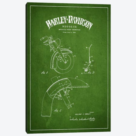 Harley-Davidson Motorcycle Fender Patent Application Blueprint (Green) Canvas Print #ADP2471} by Aged Pixel Art Print