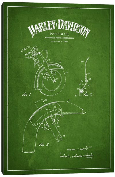 Harley-Davidson Motorcycle Fender Patent Application Blueprint (Green) Canvas Art Print