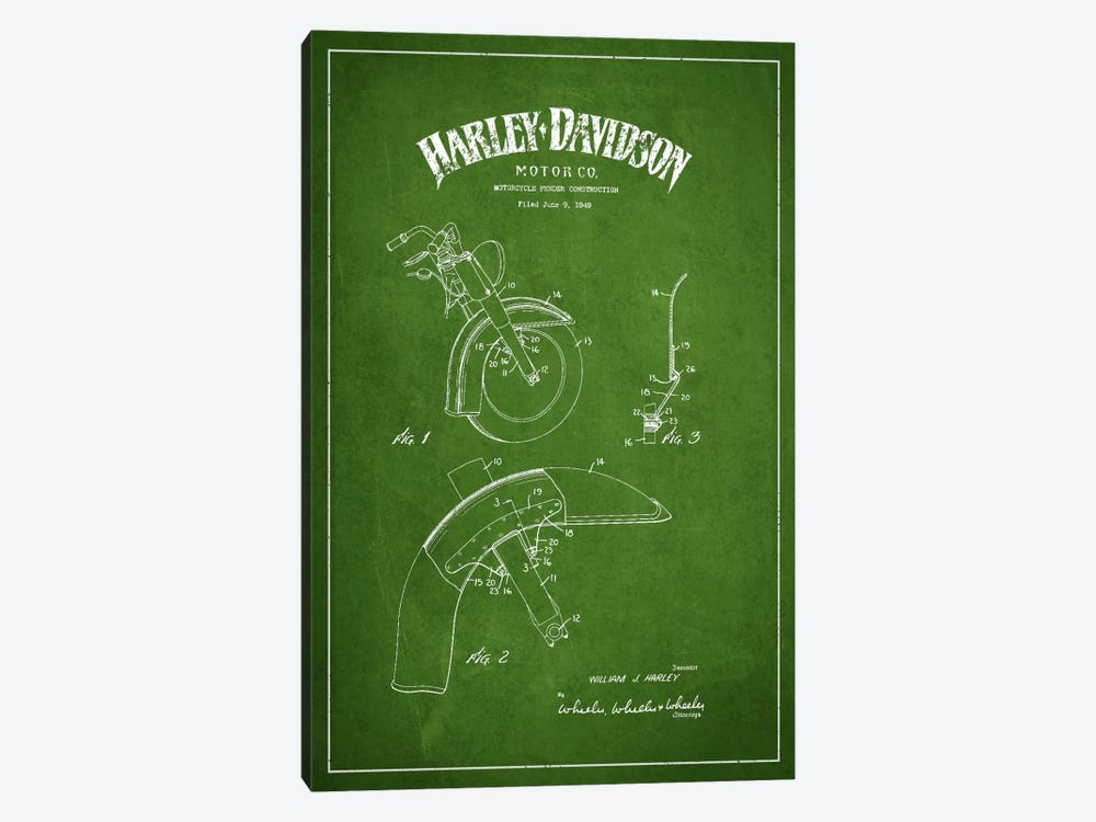 Harley-Davidson Motorcycle Fender Patent Application Blueprint (Green) 1-piece Art Print