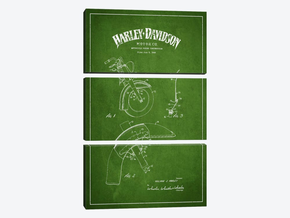 Harley-Davidson Motorcycle Fender Patent Application Blueprint (Green) by Aged Pixel 3-piece Canvas Print