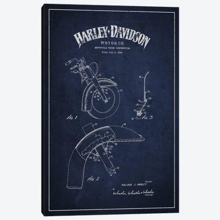 Harley-Davidson Motorcycle Fender Patent Application Blueprint (Navy) Canvas Print #ADP2472} by Aged Pixel Canvas Art Print