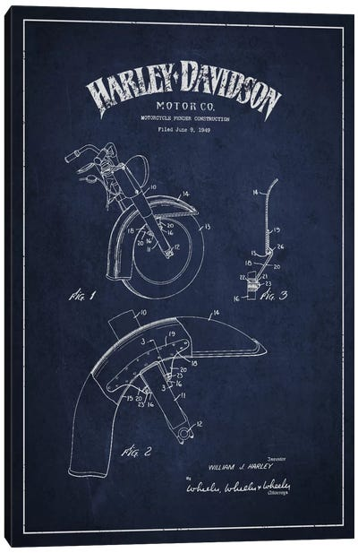 Harley-Davidson Motorcycle Fender Patent Application Blueprint (Navy) Canvas Art Print