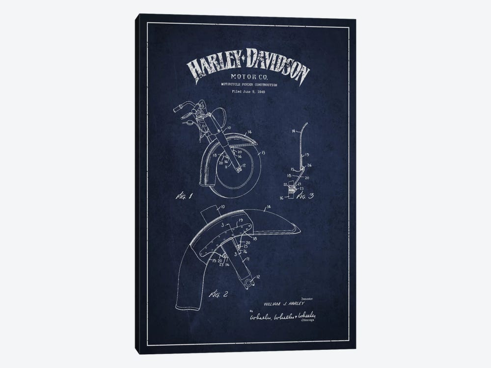 Harley-Davidson Motorcycle Fender Patent Application Blueprint (Navy) by Aged Pixel 1-piece Canvas Artwork