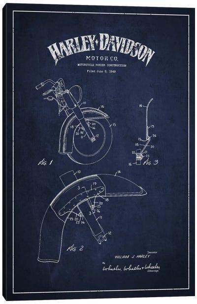Harley-Davidson Motorcycle Fender Patent Application Blueprint (Navy) Canvas Art Print