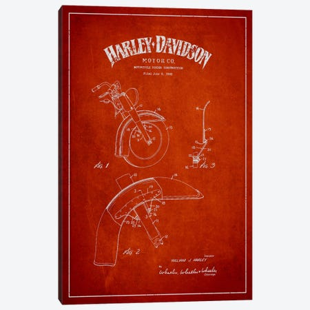 Harley-Davidson Motorcycle Fender Patent Application Blueprint (Red) Canvas Print #ADP2473} by Aged Pixel Canvas Print