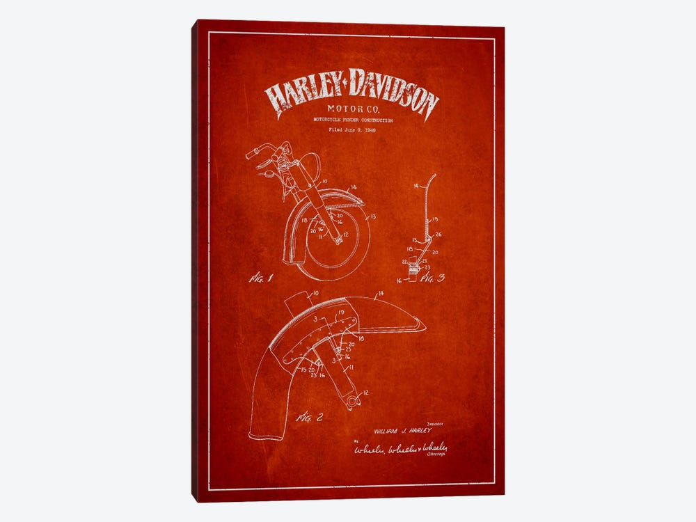 Harley-Davidson Motorcycle Fender Patent Application Blueprint (Red) by Aged Pixel 1-piece Canvas Print