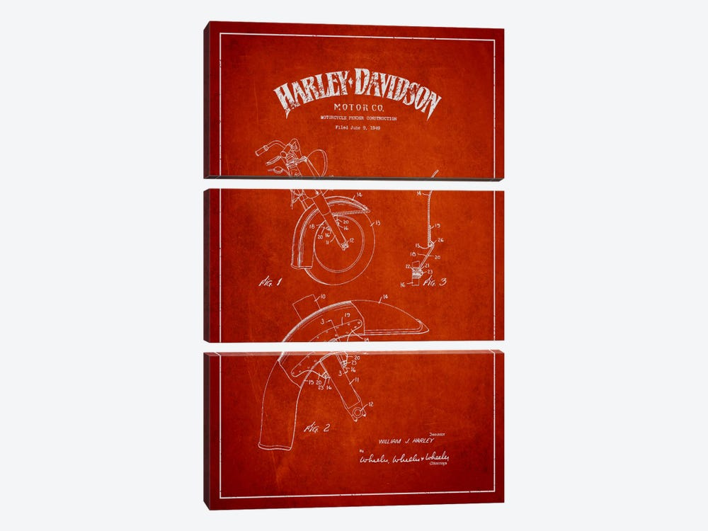 Harley-Davidson Motorcycle Fender Patent Application Blueprint (Red) by Aged Pixel 3-piece Canvas Print