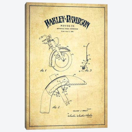 Harley-Davidson Motorcycle Fender Patent Application Blueprint (Vintage Beige) Canvas Print #ADP2474} by Aged Pixel Canvas Artwork