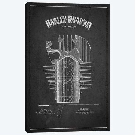 Harley-Davidson Charcoal Patent Blueprint Canvas Print #ADP2475} by Aged Pixel Canvas Wall Art