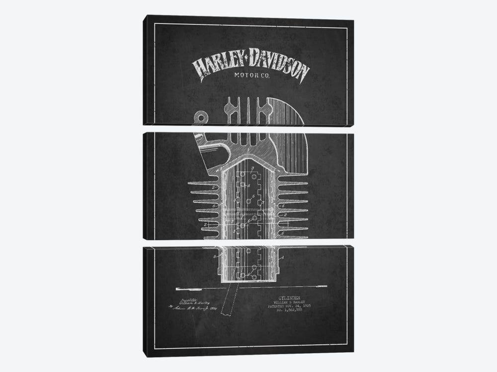 Harley-Davidson Charcoal Patent Blueprint by Aged Pixel 3-piece Art Print