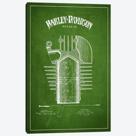 Harley-Davidson Green Patent Blueprint Canvas Print #ADP2476} by Aged Pixel Canvas Art