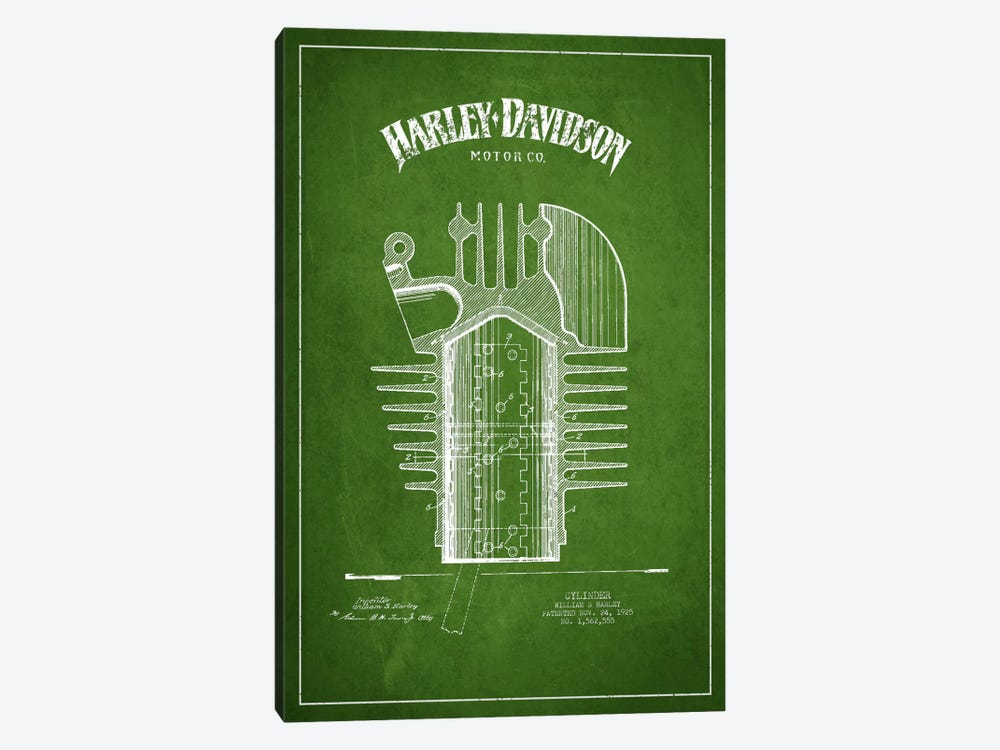 Harley-Davidson Green Patent Blueprint by Aged Pixel 1-piece Canvas Wall Art
