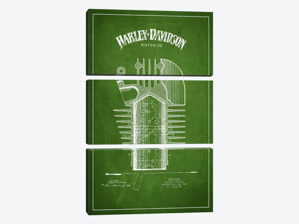 Harley-Davidson Green Patent Blueprint by Aged Pixel 3-piece Canvas Art