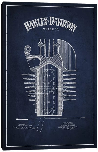 Harley-Davidson Navy Blue Patent Blueprint Canvas Print #ADP2477
