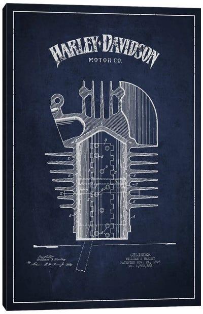 Harley-Davidson Navy Blue Patent Blueprint Canvas Print #ADP2477