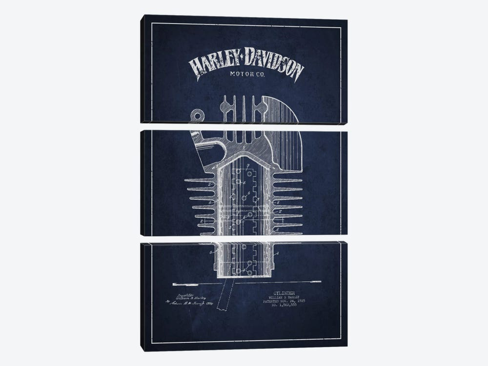 Harley-Davidson Navy Blue Patent Blueprint by Aged Pixel 3-piece Canvas Print
