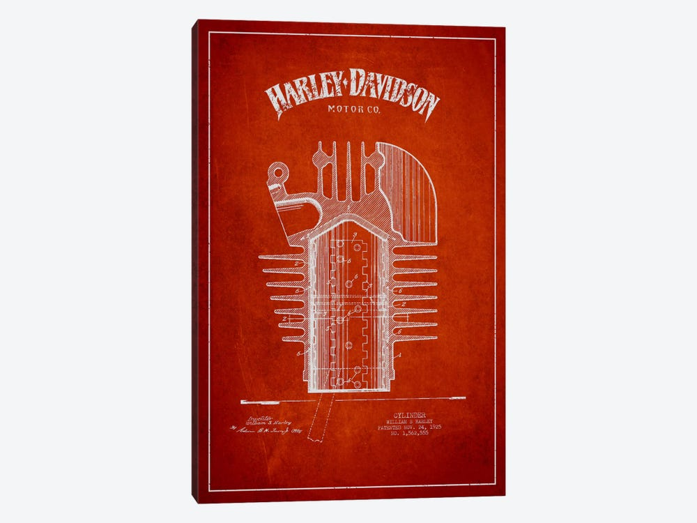 Harley-Davidson Red Patent Blueprint by Aged Pixel 1-piece Canvas Wall Art